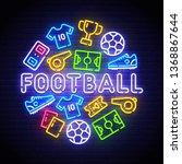football icons set. soccer neon ... | Shutterstock .eps vector #1368867644