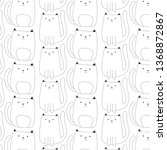 cute cat pattern hand drawn...   Shutterstock .eps vector #1368872867