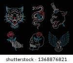 set of neon light animals ... | Shutterstock .eps vector #1368876821