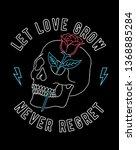 neon light vector a skull and... | Shutterstock .eps vector #1368885284