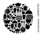 food icons in circle | Shutterstock .eps vector #136892705