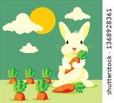 cartoon rabbit with carrot... | Shutterstock .eps vector #1368928361
