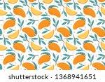 seamless mango pattern. hand...   Shutterstock .eps vector #1368941651