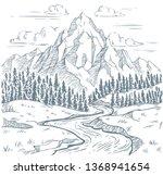 mountains river engraving.... | Shutterstock .eps vector #1368941654
