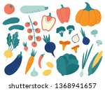 hand drawn vegetables. veggies... | Shutterstock .eps vector #1368941657