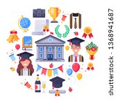 college graduate icons.... | Shutterstock .eps vector #1368941687