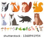 funny wood animals. wild forest ... | Shutterstock .eps vector #1368941954