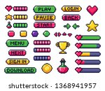 pixel game buttons. games ui ... | Shutterstock .eps vector #1368941957