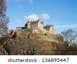 edinburgh castle on a beautiful ... | Shutterstock . vector #136895447