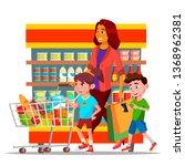 mother with children shopping... | Shutterstock .eps vector #1368962381