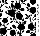 seamless pattern with roses.... | Shutterstock .eps vector #136896659
