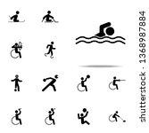 disabled sport swim icon.... | Shutterstock .eps vector #1368987884