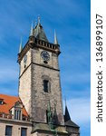 old tower in prague on blues... | Shutterstock . vector #136899107