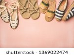Stock photo variety of trendy summer shoes flat lay of various espadrilles sandals flip flops made of 1369022474