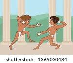 ancient greek boys boxing ... | Shutterstock .eps vector #1369030484