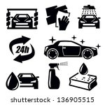 vector black car wash icons set ... | Shutterstock .eps vector #136905515
