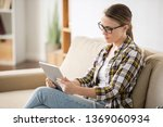 serious thoughtful young woman... | Shutterstock . vector #1369060934