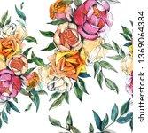 wildflowers bouquet botanical...   Shutterstock . vector #1369064384