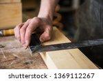 the worker makes measurements... | Shutterstock . vector #1369112267