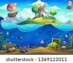undersea world with grinder on... | Shutterstock .eps vector #1369122011