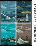 googie architecture mid century ... | Shutterstock .eps vector #1369145501