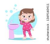 kid girl brushing teeth vector... | Shutterstock .eps vector #1369160411
