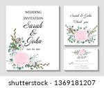 wedding invitation leaves and... | Shutterstock .eps vector #1369181207