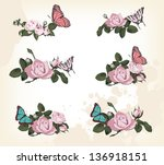 roses with butterflies    Shutterstock . vector #136918151