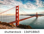 Stock photo famous golden gate bridge san francisco at night usa 136918865