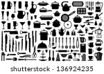 Silhouettes Of Kitchen Ware An...