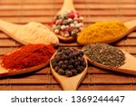 group of indian spices and...   Shutterstock . vector #1369244447