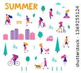different activities of people... | Shutterstock .eps vector #1369255124