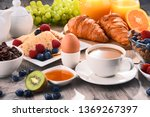 breakfast served with coffee ... | Shutterstock . vector #1369267397