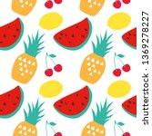 seamless background with fruits.... | Shutterstock .eps vector #1369278227