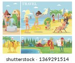 flat summer vacation... | Shutterstock .eps vector #1369291514