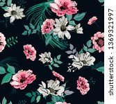 floral seamless pattern with... | Shutterstock .eps vector #1369321997