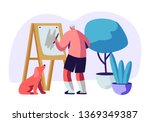 senior man artist hobby. old... | Shutterstock .eps vector #1369349387