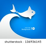 abstract paper background. fish ... | Shutterstock .eps vector #136936145