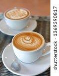 hot caramel macchiato and latte ... | Shutterstock . vector #1369390817