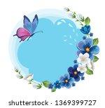 flower frame with butterfly.... | Shutterstock .eps vector #1369399727