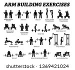 arm building exercises and... | Shutterstock .eps vector #1369421024