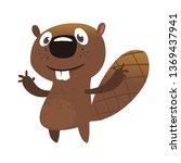 excited cartoon beaver waving... | Shutterstock .eps vector #1369437941