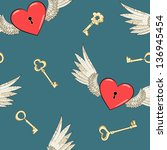 vector seamless wings and heart | Shutterstock .eps vector #136945454