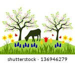 Vector Bed Of Spring Flowers ...