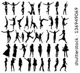 Silhouettes Of Girls . Vector...