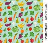 lovely vegetables and fruits... | Shutterstock .eps vector #1369498631
