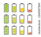 battery vector icon set with... | Shutterstock .eps vector #1369507304