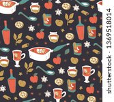 mulled wine seamless background.... | Shutterstock .eps vector #1369518014