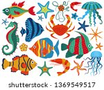 coral reef fauna with tropical... | Shutterstock .eps vector #1369549517