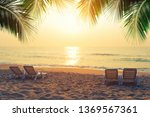 beach chairs with coconut... | Shutterstock . vector #1369567361